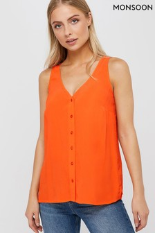 Monsoon Orange Kerry Button Cami