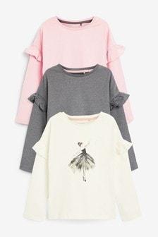 Langärmelige T-Shirts im Ballerina-Design mit Rüschen im 3er-Pack (3-16yrs)