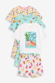 フルーツ柄半袖パジャマ 3 枚組 (3~16 歳)