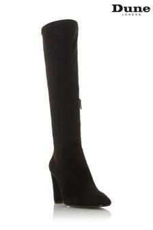 Dune London Siren Black Stretch Block Heel Almond Toe Boots