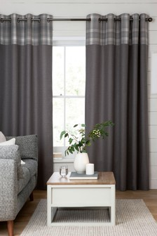Check Top Panel Eyelet Curtains