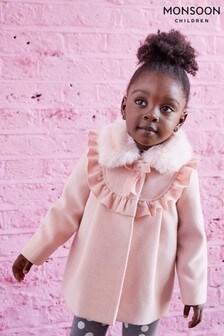 Monsoon Pink Baby Frill Coat