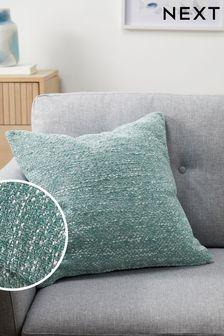 Teal Blue Ashton Chunky Chenille Square Texture Cushion