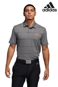 adidas Golf Ultimate Gestreiftes Poloshirt, Grau meliert