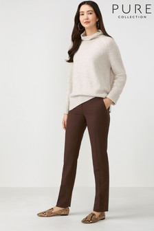 Pure Collection Brown Slim Leg Wool Blend Trousers