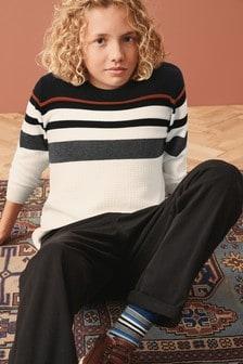 סוודר עם פסים בחזה (גילאי 3 עד 16)