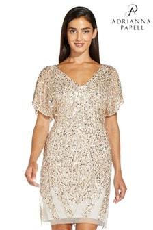 Adrianna Papell Natural Beade Flutter Sleeve Dress