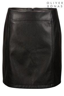 Oliver Bonas Black PU Leather Mini Skirt