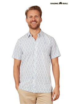 Raging Bull Blue Short Sleeve Spring Leaf Shirt