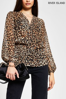 River Island Brown Animal Drape Front Blouse