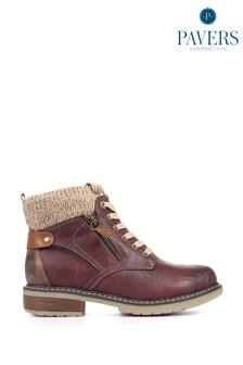 Бордовые женские ботинки на шнуровке Pavers