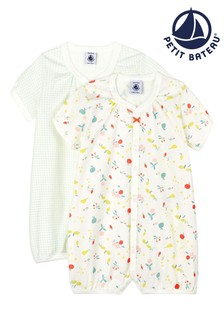 Petit Bateau White with Fruit Print Rompers 2 Pack