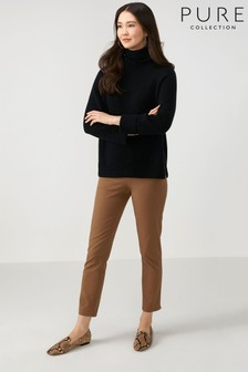 Pure Collection Camel Cotton Stretch Crop Trousers
