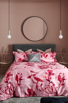 Red 200 Thread Count 100% Cotton Sateen Red Floral Duvet Cover and Pillowcase Set