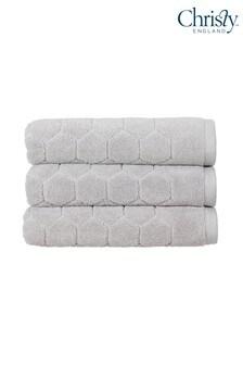 Christy Silver Honeycomb Geometric Towel