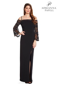 Adrianna Papell Black Bead Crepe Long Dress