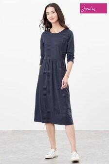 Joules Blue Audrey 3/4 Sleeve Jersey Dress