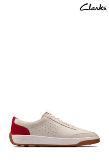 Clarks White/Red Hero Air Lace Shoes