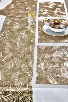 6 сервировочных ковриков и настольная дорожка цвета металлик с геометрическим узором