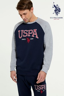U.S. Polo Assn.學院風標誌圓領運動衫