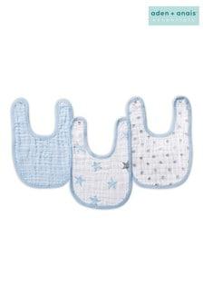 عبوة ثلاثة مرايل للأطفال Snap أزرق Essentials من aden + anais