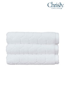 Set of 2 Christy White Honeycomb Geometric Towels