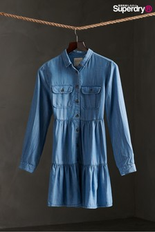 Superdry Blue Tiered Shirt Dress