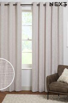 Grey Fine Bouclé Eyelet Lined Curtains
