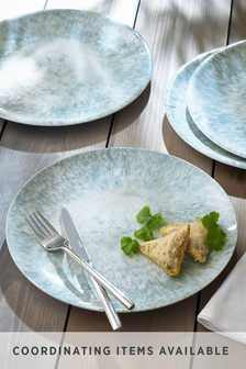 Set of 4 Teal Reactive Print Melamine Plates