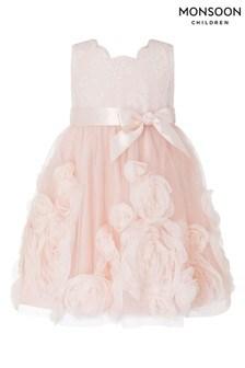 Розовое платье для малышек Monsoon Macaroon