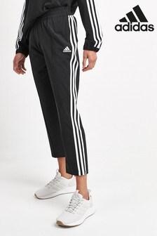 adidas Black 3 Stripe Cropped Joggers