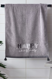 Grey Happy Christmas Word Towel