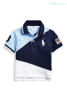 Темно-синяя футболка-поло в стиле колор блок Ralph Lauren
