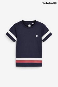 Темно-синяя футболка с полосками и логотипом Timberland®