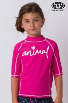 Animal Pink Molli Short Sleeve Rash Vest