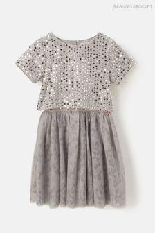 Angel & Rocket Netzstoff-Kleid mit Pailletten, Silber