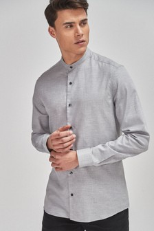 Textured Slim Fit Grandad Collar Long Sleeve Shirt