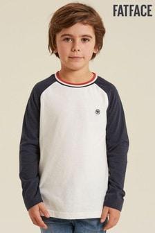 Béžové tričko s kontratnými raglánovými rukávmi FatFace
