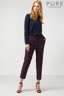 Pure Collection Blue Tailored Ankle Length Trousers