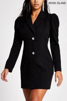 Črna elegantna obleka za drobno postavo River Island Arya