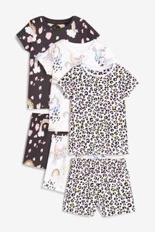 Lot de 3 pyjashorts en coton motif licorne (9 mois - 8 ans)