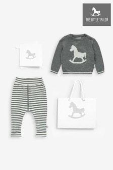 סט סוודר ומכנסיים סרוגים של The Little Tailor מדגם Rocking Horse בצבע אפור