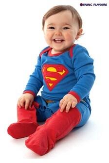 אוברול בגד גוף לתינוק של Fabric Flavours בדוגמת סופרמן בצבע כחול