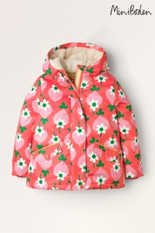 Mini Boden Red Sherpa-Lined Anorak