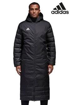 Черное зимнее пальто adidas