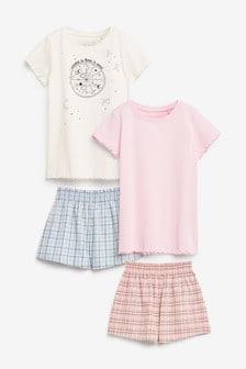 2 Pack Woven Metallic Check Kort Pyjamas (3-16yrs)