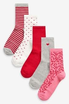 Heart Detail Ankle Socks Five Pack