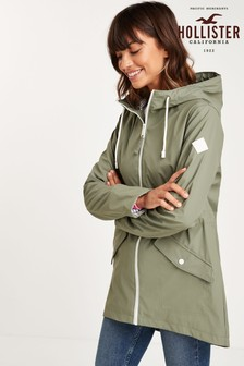 Hollister Olive Long Rain Jacket Jacket