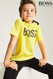 BOSS Yellow/Navy Colourblock Logo T-Shirt