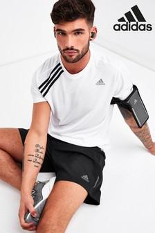 adidas White Own The Run 3 Stripe T-Shirt